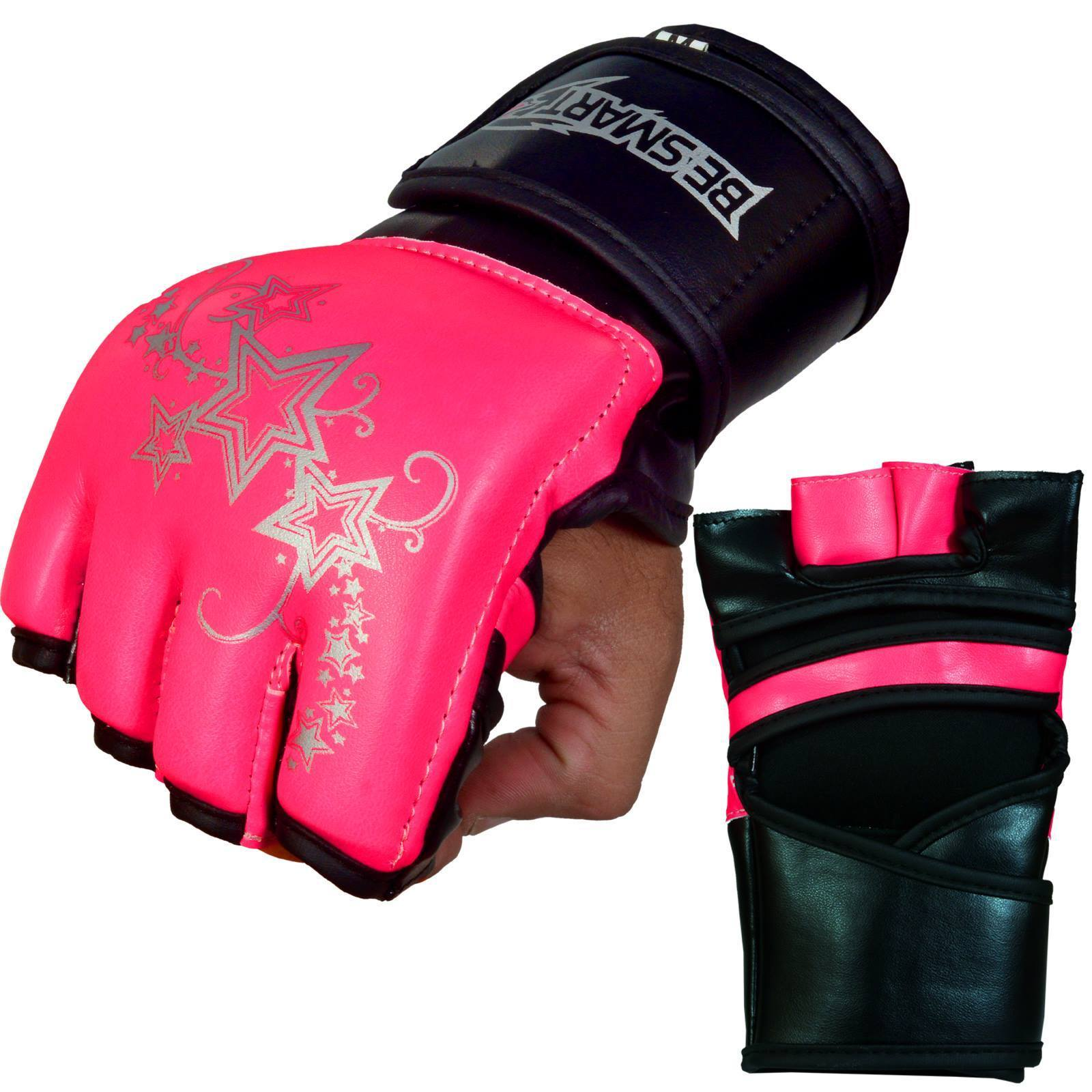 Evo Ladies Pink Elasticated Gel Gloves Boxing Wrist Wraps Support Straps MMA Bag